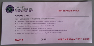Queue card for the Wimbledon Tennis Championships Day 3.