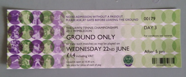 Entrance ticket for Day 3 of the Wimbledon Tennis Championships (entry after 5PM costs £14, instead of £20)