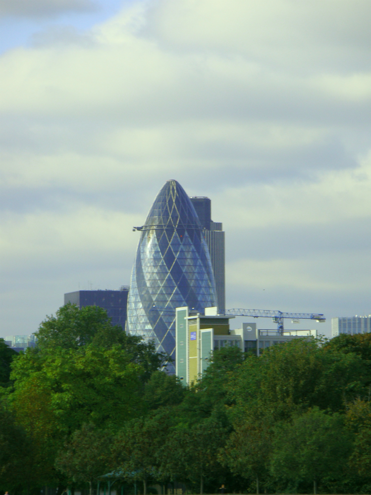 The Gherkin, in central London, seen from some distance.