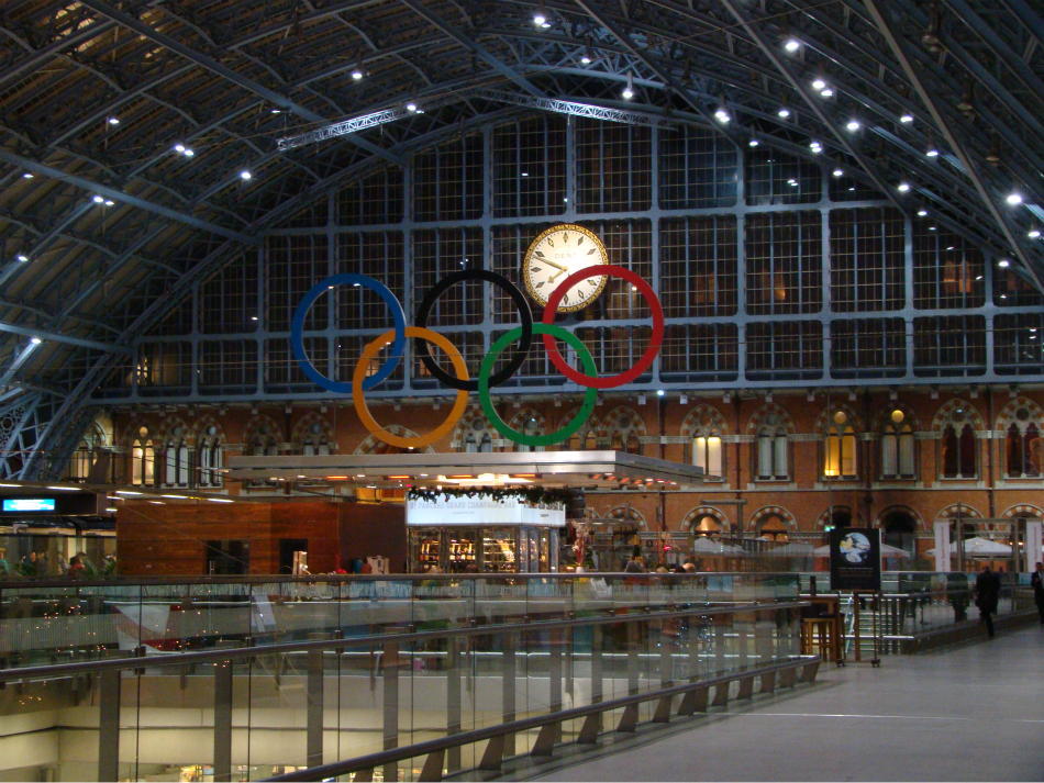 Photograph—London │ St Pancras Station │ Olympic rings │ Statue of John Betjeman