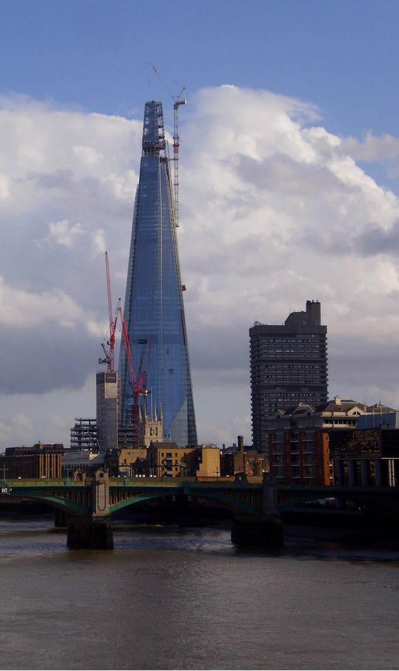 Photograph of The Shard, a skyscraper in London nearing its completion. (2 March 2012)