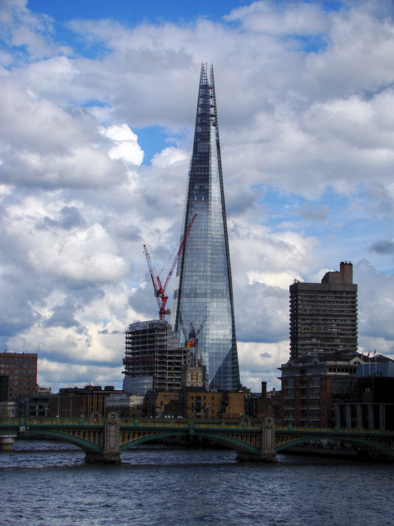 Photograph of The Shard, a skyscraper in London nearing its completion, as seen from the London Millennium Footbridge. (6 July 2012).
