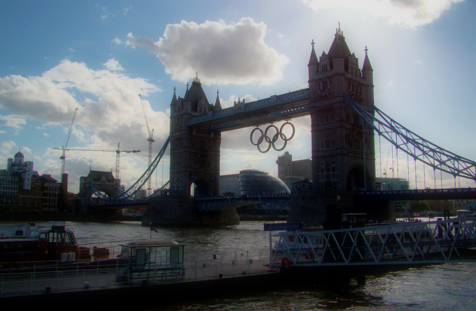 A photograph of Tower Bridge, with the Olympic rings