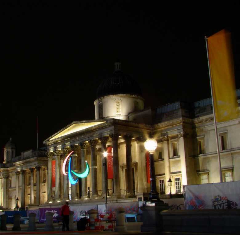 National Gallery, London, at night, with the Agitos, the symbol of the Paralympic Games.