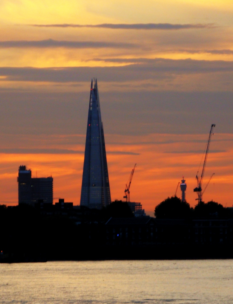 The Shard, as seen from Greenwich, at dusk