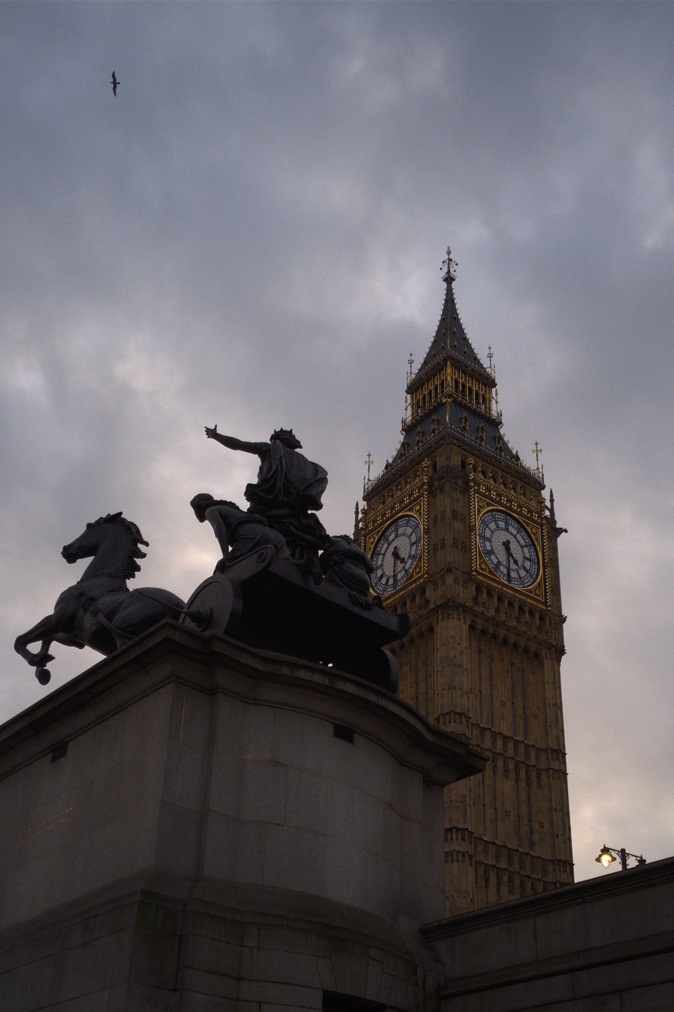 Statue of Boudicca and Elizabeth (Clock) Tower, Westminster, London, photographed on 26 February 2016