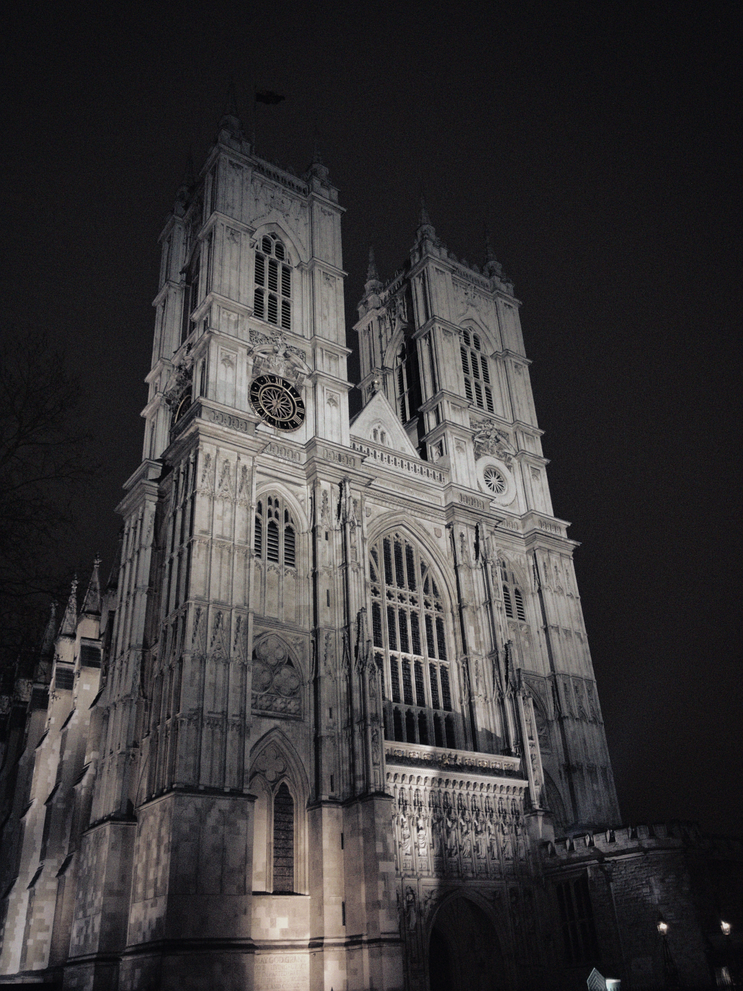 Westminster Abbey at night, photographed on 18 March 2016