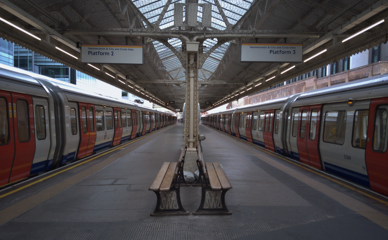 London Underground Hammersmith station, photographed on 10 August 2016