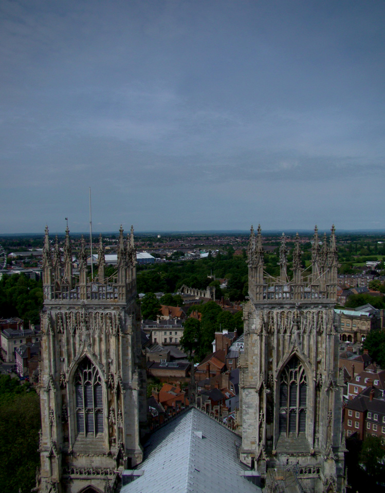 York Minster: the west towers, seen from the central tower