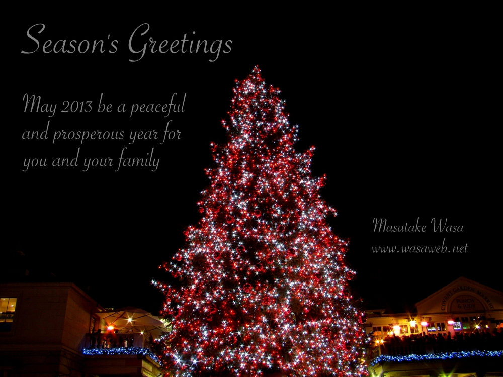 Season's Greetings. May 2013 be a peaceful and prosperous year for you and your family.