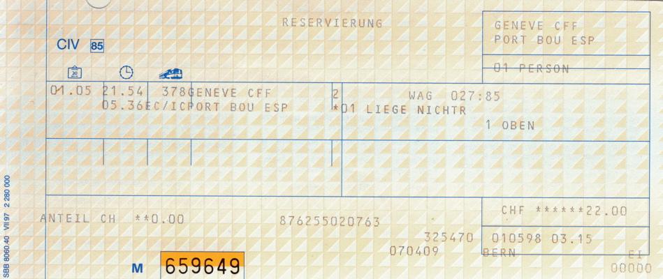 切符で振り返るヨーロッパ鉄道旅行:1998年5月1日:ジュネーヴ〜ポルトボウ