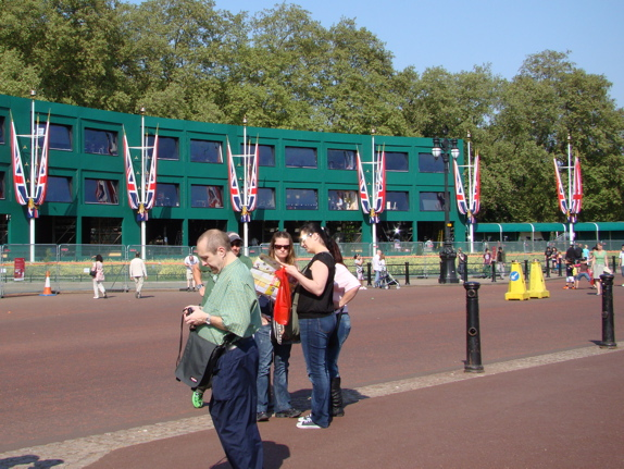 Booths for television crews, opposite Buckingham Palace