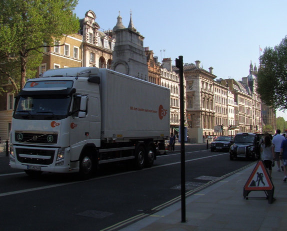 Whitehall: a lorry for a German broadcaster passes by.