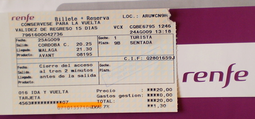 スペイン国鉄 RENFE の切符の写真